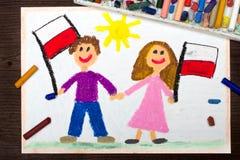 Σχεδιασμός: Χαμογελώντας παιδιά, αγόρι και κορίτσι, κυματίζοντας πολωνικές σημαίες Πολωνικός πατριωτισμός Ημέρα της ανεξαρτησίας  ελεύθερη απεικόνιση δικαιώματος