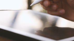 Σχεδιαστής που επισύρει την προσοχή και που ξελεπιάζει στην ταμπλέτα που χρησιμοποιεί stylus στη φύση απόθεμα βίντεο