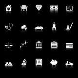 Σχετικά με τα την ασφάλεια εικονίδια με απεικονίζουν στο μαύρο υπόβαθρο Στοκ εικόνα με δικαίωμα ελεύθερης χρήσης