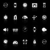 Σχετικά με τα τον χρόνο εικονίδια με απεικονίζουν στο μαύρο υπόβαθρο Στοκ Φωτογραφία