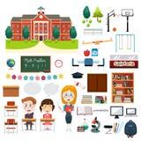 Σχετικά στοιχεία Infographics σχολικής εκπαίδευσης Στοκ Εικόνες