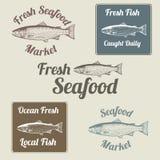 Σχετικές με τα ψάρια σημάδια και ετικέτες Στοκ Εικόνα