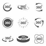 σχετικό με σύνολο εικονιδίων 360 βαθμού την άποψη Τα σημάδια και τα βέλη για δείχνουν την περιστροφή και το πανόραμα, εικονίδια τ Στοκ εικόνες με δικαίωμα ελεύθερης χρήσης