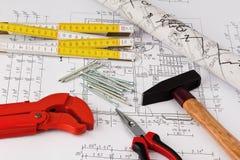 Σχεδιάγραμμα ενός σπιτιού. κατασκευή Στοκ εικόνα με δικαίωμα ελεύθερης χρήσης