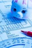 Σχεδιάγραμμα ενός σπιτιού. κατασκευή Στοκ φωτογραφία με δικαίωμα ελεύθερης χρήσης