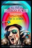 Σχεδιάγραμμα ιπτάμενων λεσχών νύχτας Disco με τη μορφή του DJ Στοκ Φωτογραφίες