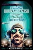 Σχεδιάγραμμα ιπτάμενων λεσχών νύχτας Disco με τη μορφή του DJ διανυσματική απεικόνιση