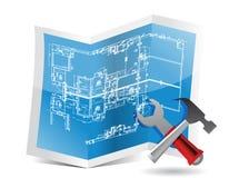 Σχεδιάγραμμα και εργαλεία Στοκ Εικόνες