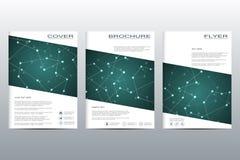 Σχεδιάγραμμα προτύπων φυλλάδιων, ιπτάμενο, κάλυψη, ετήσια έκθεση, περιοδικό A4 στο μέγεθος Δομή των μοριακών μορίων και του ατόμο Στοκ φωτογραφίες με δικαίωμα ελεύθερης χρήσης