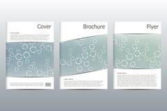 Σχεδιάγραμμα προτύπων φυλλάδιων, ιπτάμενο, κάλυψη, ετήσια έκθεση, περιοδικό A4 στο μέγεθος Δομή των μοριακών μορίων και του ατόμο Στοκ Εικόνες
