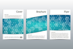 Σχεδιάγραμμα προτύπων φυλλάδιων, ιπτάμενο, κάλυψη, ετήσια έκθεση, περιοδικό A4 στο μέγεθος Δομή των μοριακών μορίων και του ατόμο Στοκ φωτογραφία με δικαίωμα ελεύθερης χρήσης