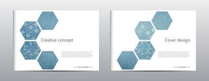 Σχεδιάγραμμα προτύπων φυλλάδιων ορθογωνίων, κάλυψη, ετήσια έκθεση, περιοδικό A4 στο μέγεθος με την εξαγωνική δομή μορίων διανυσματική απεικόνιση