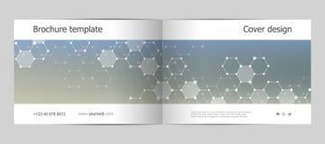 Σχεδιάγραμμα προτύπων φυλλάδιων ορθογωνίων, κάλυψη, ετήσια έκθεση, περιοδικό A4 στο μέγεθος με την εξαγωνική δομή μορίων Στοκ Εικόνες