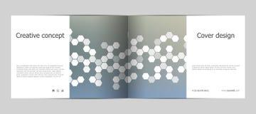 Σχεδιάγραμμα προτύπων φυλλάδιων ορθογωνίων, κάλυψη, ετήσια έκθεση, περιοδικό A4 στο μέγεθος με το hexagon υπόβαθρο διάνυσμα Στοκ εικόνα με δικαίωμα ελεύθερης χρήσης