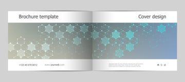 Σχεδιάγραμμα προτύπων φυλλάδιων ορθογωνίων, κάλυψη, ετήσια έκθεση, περιοδικό A4 στο μέγεθος με το μοριακό υπόβαθρο διάνυσμα Στοκ Φωτογραφία