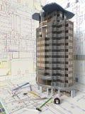 Σχεδιάγραμμα σπιτιών και αρχιτεκτονικά σχέδια Στοκ φωτογραφία με δικαίωμα ελεύθερης χρήσης