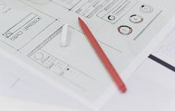 Σχεδιάγραμμα σχεδίου περιεχομένου επιχειρησιακού ιστοχώρου ξεκινήματος σε χαρτί στοκ εικόνες με δικαίωμα ελεύθερης χρήσης