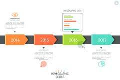 Σχεδιάγραμμα σχεδίου Infographic Οριζόντια υπόδειξη ως προς το χρόνο, 4 στοιχεία που δείχνει το έτος και που συνδέουν με τα εικον απεικόνιση αποθεμάτων