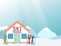 Σχεδιάγραμμα σχολικών διαφημίσεων σκι Στοκ φωτογραφία με δικαίωμα ελεύθερης χρήσης
