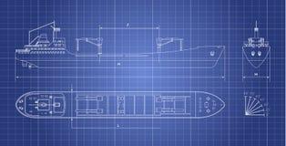 Σχεδιάγραμμα του φορτηγού πλοίου σε ένα άσπρο υπόβαθρο Τοπ, δευτερεύουσα και μπροστινή άποψη Μεταφορά εμπορευματοκιβωτίων Στοκ Εικόνα
