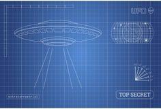 Σχεδιάγραμμα UFO Τεχνικό έγγραφο με το σχέδιο του αλλοδαπού διαστημοπλοίου Στοκ Εικόνες