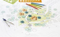 Σχεδιαγράμματα σχεδίων τοπίων για το θέρετρο ελεύθερη απεικόνιση δικαιώματος