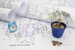 Σχεδιαγράμματα, χρόνος, εργατικό δυναμικό, και δέντρο χρημάτων στην κατασκευή proj Στοκ Εικόνες