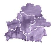 Σχεδιαζόμενος χέρι χάρτης watercolor της Λευκορωσίας χάρτης απεικόνισης της Λευκορωσίας στο άσπρο υπόβαθρο Στοκ Φωτογραφίες
