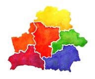 Σχεδιαζόμενος χέρι χάρτης watercolor της Λευκορωσίας χάρτης απεικόνισης της Λευκορωσίας στο άσπρο υπόβαθρο Στοκ Εικόνα