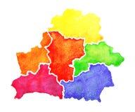Σχεδιαζόμενος χέρι χάρτης watercolor της Λευκορωσίας χάρτης απεικόνισης της Λευκορωσίας στο άσπρο υπόβαθρο Στοκ εικόνα με δικαίωμα ελεύθερης χρήσης