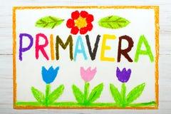 Σχεδιασμός: άνοιξη λέξης PRIMAVERA Στοκ Εικόνα
