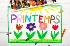 Σχεδιασμός: Γαλλική άνοιξη Printemps λέξεων Στοκ εικόνα με δικαίωμα ελεύθερης χρήσης