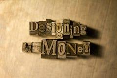 Σχεδιασμός για τα χρήματα - letterpress σημάδι κειμένων στοκ εικόνες
