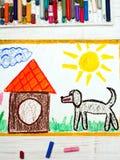 σχεδιασμός: μαύρα μεγάλα σκυλί και σκυλόσπιτο Στοκ Εικόνες