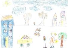 Σχεδιασμός του ευτυχούς κοριτσιού, ένα σπίτι, αυτοκίνητο Στοκ Εικόνες