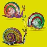 Σχεδιασμός του συνόλου τριών σαλιγκαριών απεικόνιση αποθεμάτων