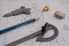 Σχεδιασμός των μηχανικών μερών στοκ εικόνες