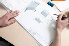 Σχεδιαστές που σύρουν το σχέδιο Στοκ Εικόνες