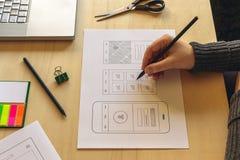 Σχεδιαστής που κινητό App Στοκ Φωτογραφίες