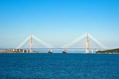 Καλώδιο-μένοντη γέφυρα στο ρωσικό νησί στοκ εικόνα
