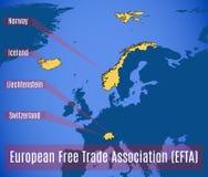 Σχηματικός χάρτης της ευρωπαϊκής ΕΖΕΣ ένωσης ελευθεροποίησης των συναλλαγών ελεύθερη απεικόνιση δικαιώματος