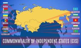 Σχηματικός χάρτης της Κοινοπολιτείας της ΚΑΚ ανεξάρτητων πολιτειών διανυσματική απεικόνιση