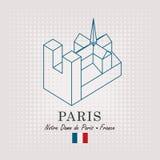 Σχηματικό σχέδιο του notre κυρία de Παρίσι διανυσματική απεικόνιση