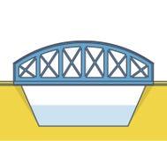 Σχηματισμένη αψίδα η διάνυσμα γέφυρα τραίνων, η πλάγια όψη, απομονωμένο, άσπρο υπόβαθρο Στοκ Φωτογραφία