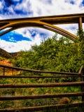 Σχηματισμένος αψίδα φράκτης ραγών θάμνων γεφυρών πράσινος στοκ φωτογραφία με δικαίωμα ελεύθερης χρήσης