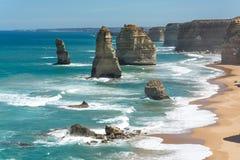 12 σχηματισμοί απότομων βράχων αποστόλων, μεγάλος ωκεάνιος δρόμος, Βικτώρια, Αυστραλία Στοκ Εικόνες