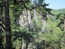 Σχηματισμοί βράχου στο Bastei Στοκ Φωτογραφίες