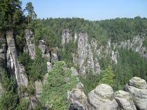 Σχηματισμοί βράχου στο Bastei Στοκ Εικόνες