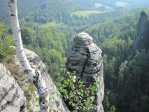 Σχηματισμοί βράχου στο Bastei Στοκ Φωτογραφία
