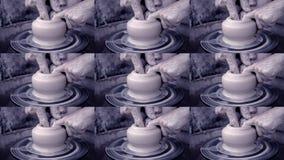 Σχηματοποίηση εργαστηρίων του αργίλου στη ρόδα αγγειοπλαστών ` s Βρώμικος παραδίδει τον άργιλο φιλμ μικρού μήκους